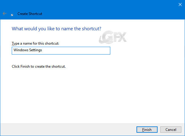 create shortcut to Windows 10 settings page on your Desktop
