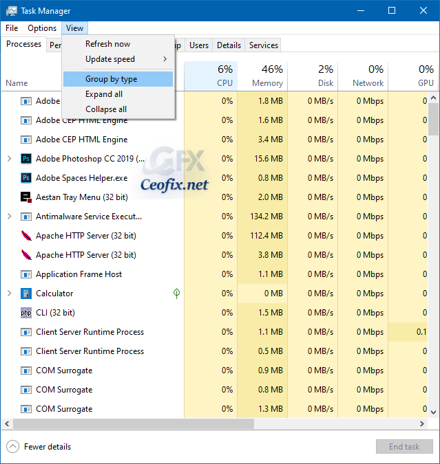 alphabetical list on task manager