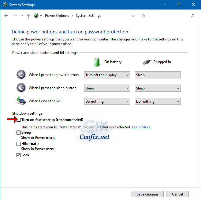 Windows - uncheck or check Turn on fast startup