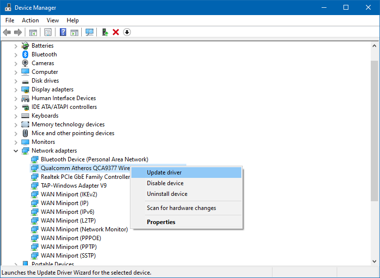 Update Wifi Driver or Reinstall Wifi Driver.
