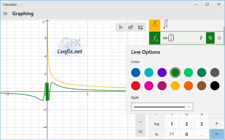 Windows Calculator graphing mode features