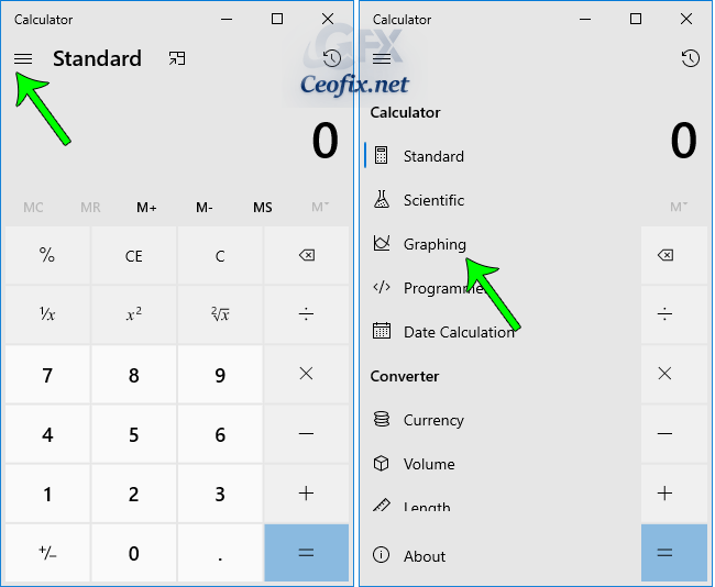 Windows Calculator graphing mode