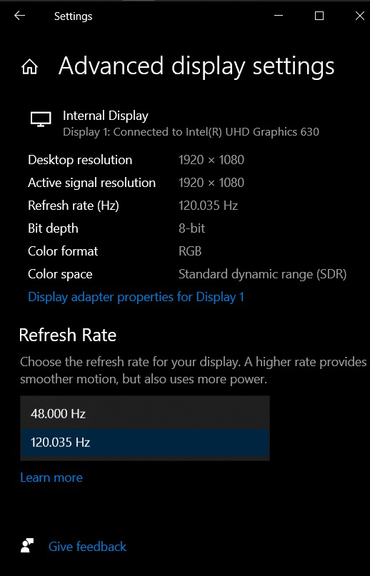 Pick your display refresh rate in Settings