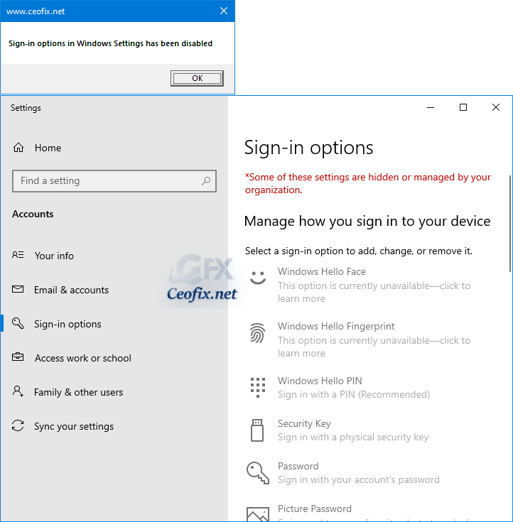 Sign-in options in Windows Settings has been disabled