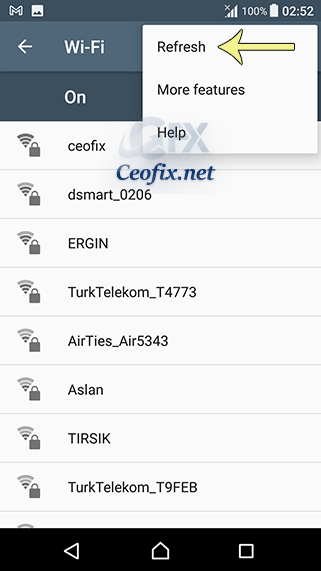 refresh the Wi-Fi Network.
