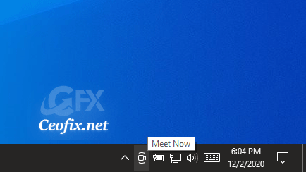 Meet Now icon in the Windows 10 Taskbar