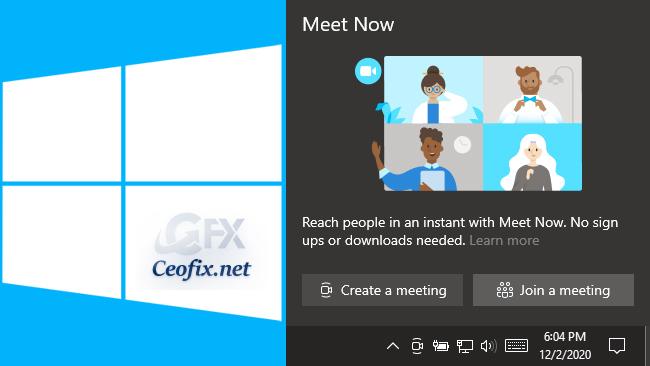 Enable or Disable Meet Now icon on Windows 10 Taskbar