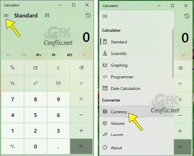 How to convert currency into Windows 10 calculator