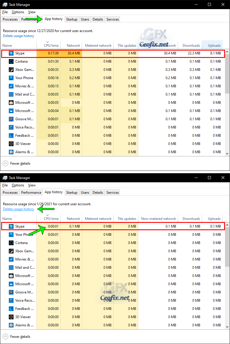 Delete Usage History of Windows apps in Windows 10