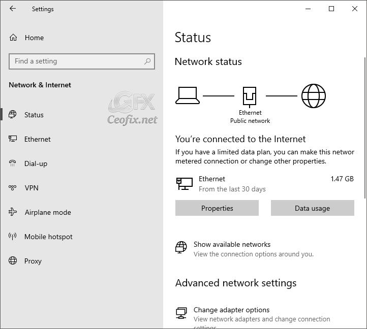 Wi-Fi option in settings on windows 10