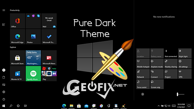 Make your Windows 10 Taskbar And Start Menu 100% Pure Black