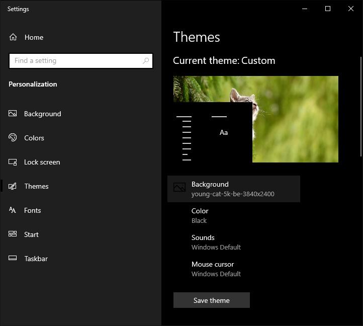 Pure Dark Theme Tool Windows 10 theme