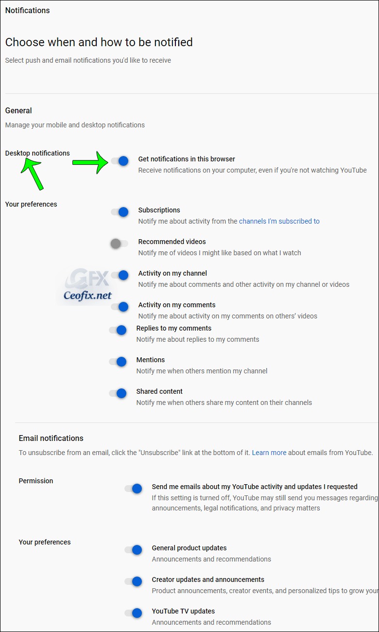 Disable or Enable YouTube desktop notifications