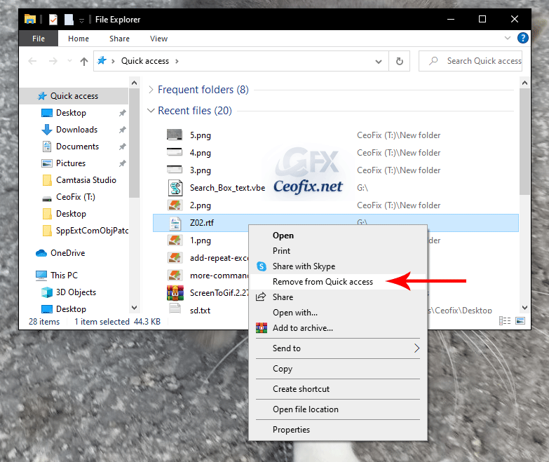 How to remove a single item from the Recent Items menu