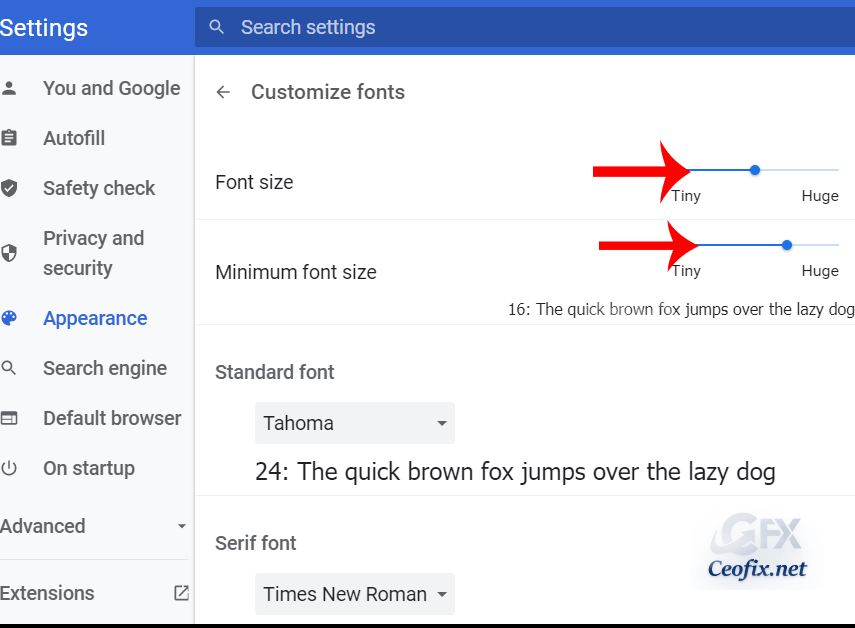 How to Change The Font Size in Chrome?