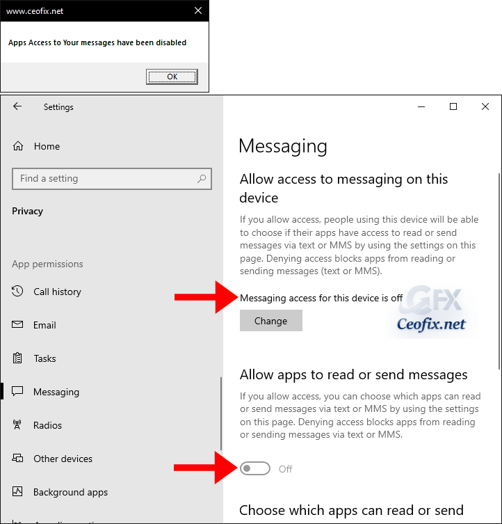 disable Apps Access to Your messages.