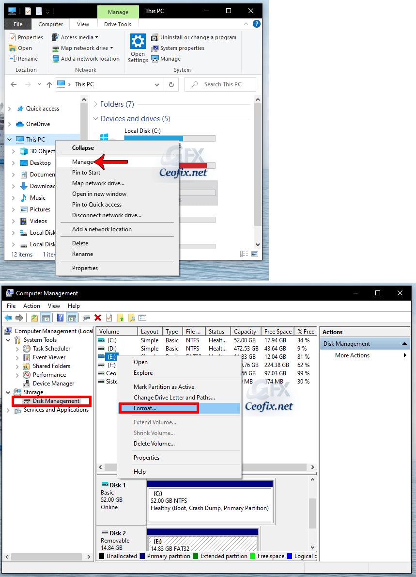 Format USB drive using Disk Management