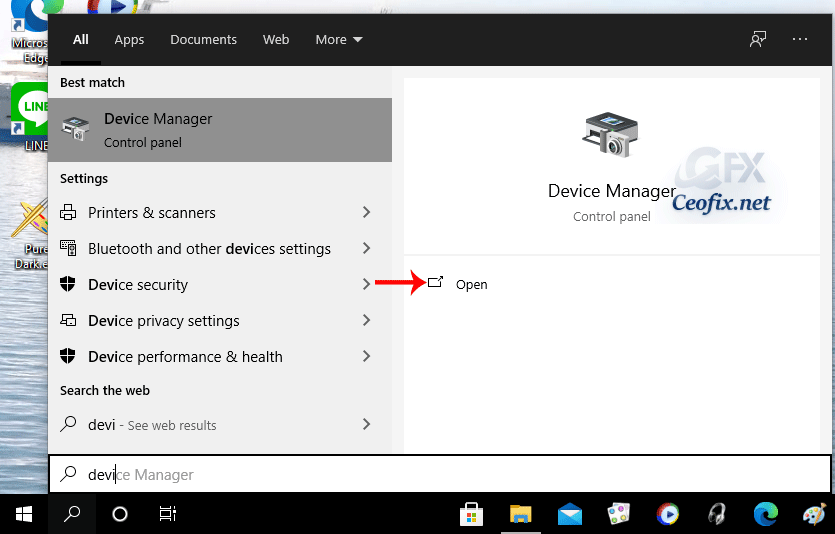 Search for Device Manager in the Start Menu