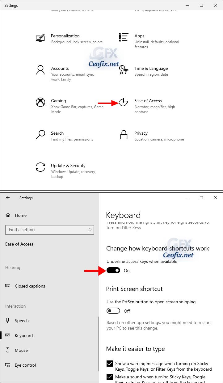 Underline Access Key Shortcuts in Menus in Windows 10