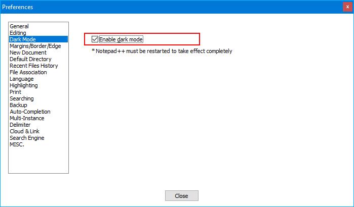 enable dark mode notepad++
