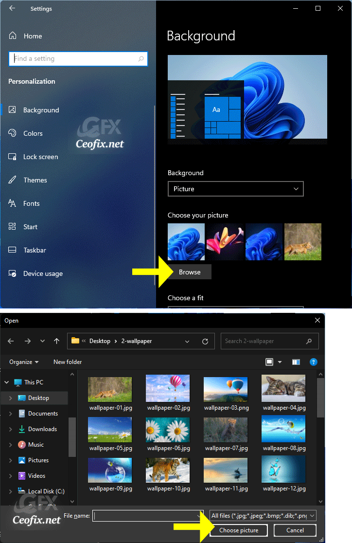 Change -desktop virtual wallpaper