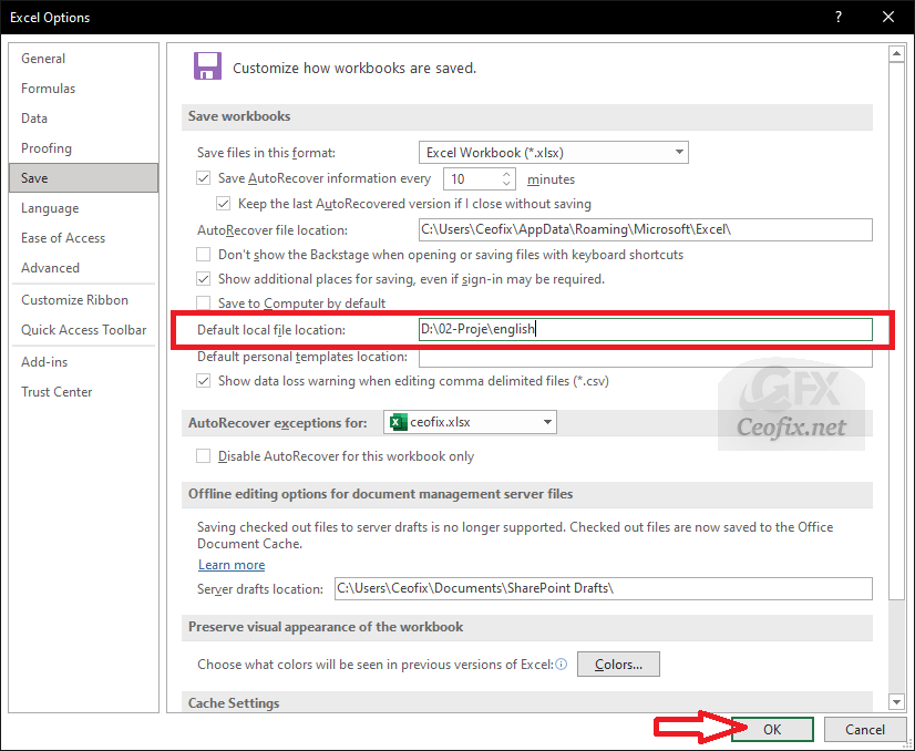 office Default local file location