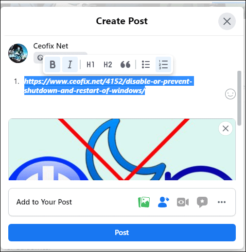 Group page format text on Facebook posts