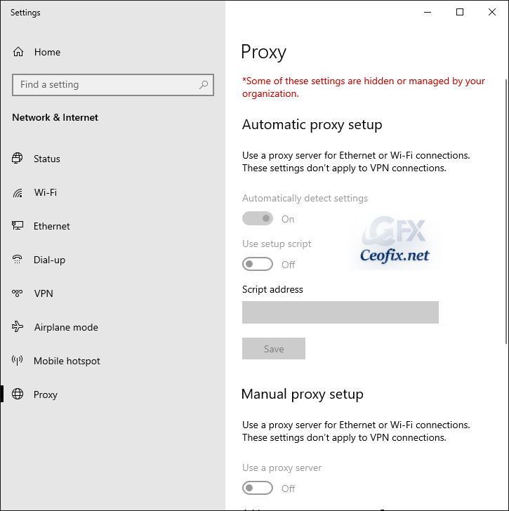 Disable Proxy Use in Windows 10 Permanently