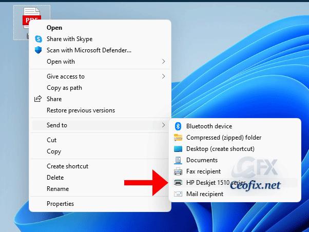 "Printer ""Send to"" Context Menu on Windows"