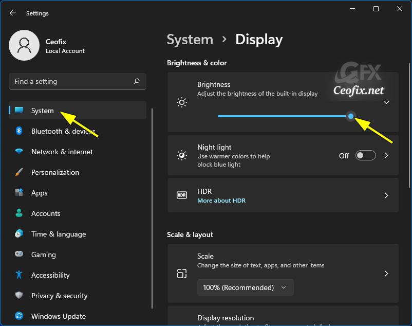Change Screen Brightness in Windows Settings