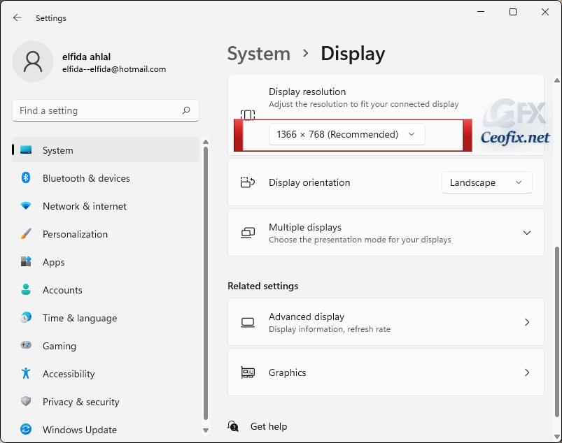 Display resolution windows 11