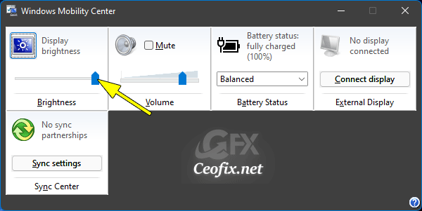 Change the Brightness in the Windows Mobility Center
